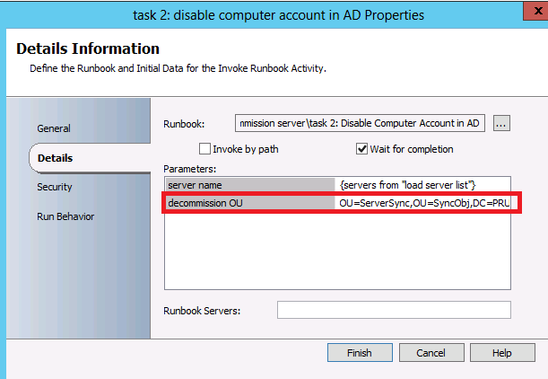 Orchestrator runbook for disabling AD account and moving the