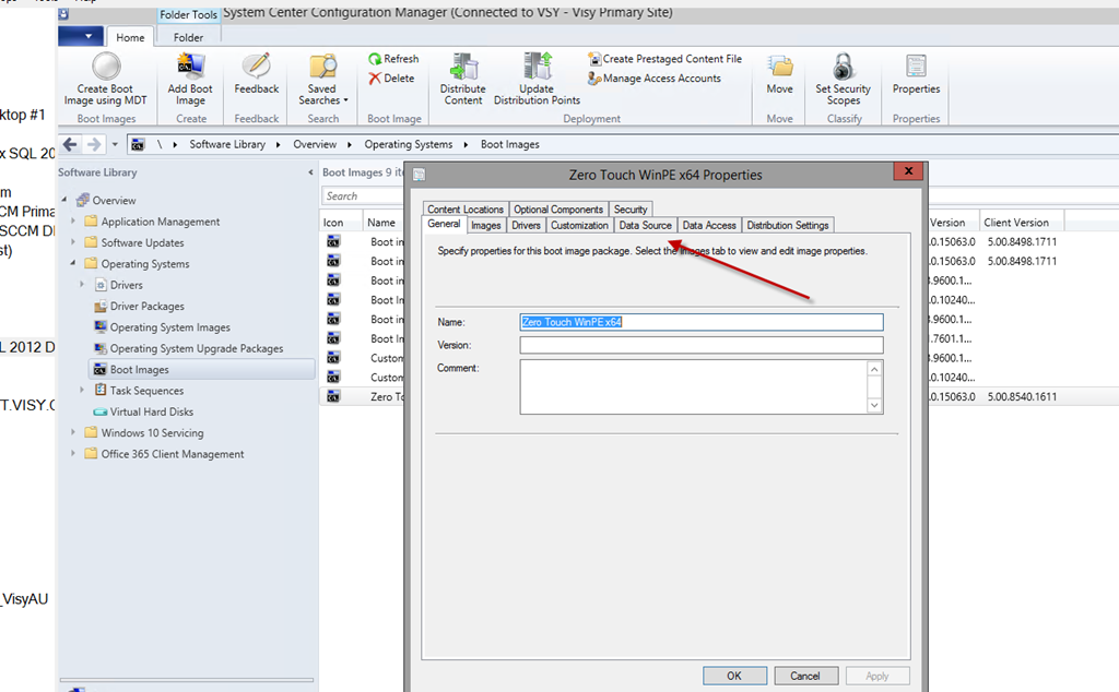 SCCM 1706 supports updating old boot images to latest ADK